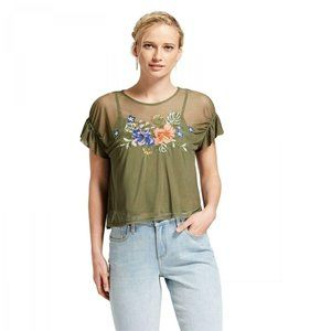 NEW Xhilaration Embroidered Mesh Top Small Olive